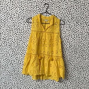 Crown & Ivy Yellow Eyelet Peplum Blouse